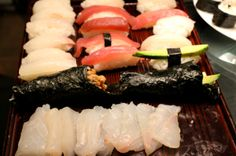Striped bass sashimi, arctic char and tuna nigiri at my Montreal sushi class