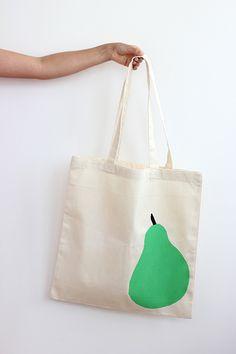 DIY: Stenciled Pear Tote Bag