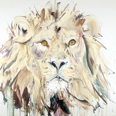 Dave White's animal paintings always leave us in awe. This Lion II is a screen print that pays homage to the Lion King. Find it here: http://www.nellyduff.com/gallery/dave-white/lion-ii #nellyduff #lion #animals #artonpinterest #davewhite