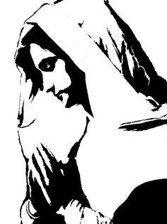 Mary prays stencil template
