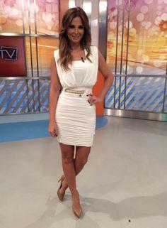 Cristina Ferreira com um Vestido branco drapeado Elisabeta Franchi   ❤️vanuska❤️