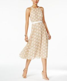 Tommy Hilfiger Polka-Dot Belted Halter Dress | macys.com