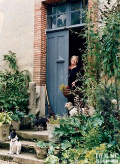 Rustic Exterior in Perche, France, blue door