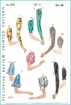 Vintage Sewing Pattern 1920s 20s sleeve set 7 styles bust 36 b36 printed pattern…
