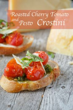 Roasted Cherry Tomato and Pesto Crostini