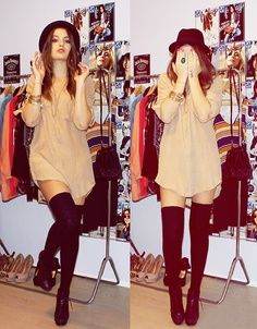Thigh high socks fall outfits