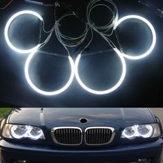 Free Shipping CCFL headlight angel eyes( 4 rings & 2 ccfl  Inverter), Ccfl Halo rings for BMW E36, E38,E39,E46 (With Projector)