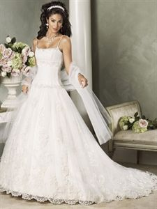 Royal Luxurious A-Line Scoop Dropped Waist Spaghetti Straps Bride Wedding Dresses   $235.00