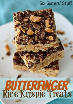 Butterfinger Rice Krispie Treats from SixSistersStuff.com.  Easy to make and are so delicious!  The perfect after school snack! #recipes #dessert #butterfinger