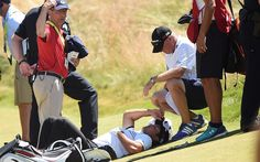 Australian collapses on the 18th after an apparent vertigo attack as Jordan Spieth marches into the lead in the second round.