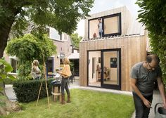 Completed in 2017 in Woerden, The Netherlands. Images by Rufus de Vries. The long cherished wish of a private painting studio became reality in the backyard. An unsightly shed grew to a light studio with attic. The side...