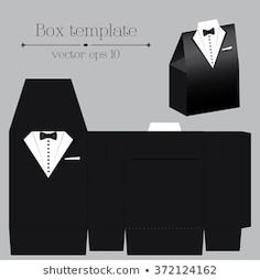 Vector tuxado box template on black color with format Diy Gift Box, Diy Box, Diy Gifts, Cool Paper Crafts, Diy And Crafts, Paper Box Template, Paper Purse, Wedding Cards Handmade, Pretty Box