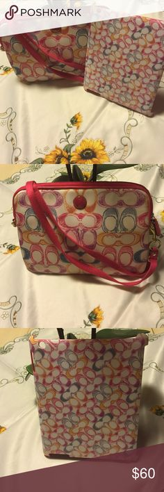 🌹Coach iPad Carrying Bag and Case 1 2 3 Gen🌹 Colorful Generation 1 2 3 carrying bag and case! Scribble signature C's throughout! Very cute set! Upgraded to iPad Air don't need anymore. Sold as set! 🚫trades 🚫lowball offers! Thank you for looking and have a fantastic day 😉 Coach Accessories Tablet Cases