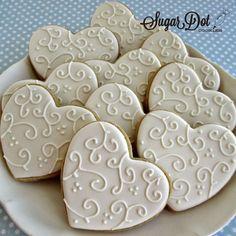 Sugar Dot Cookies: White on White Heart Sugar Cookies (Simple but very pretty) (wedding cookie ideas) Easy Sugar Cookies, Fancy Cookies, Iced Cookies, Cute Cookies, Cupcake Cookies, Heart Cookies, Summer Cookies, Cookie Favors, Flower Cookies