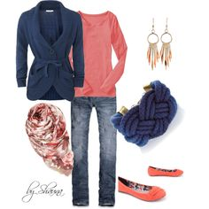 """coral and navy"" by shauna-rogers on Polyvore"
