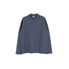Striped High Neck Top ($17) ❤ liked on Polyvore featuring tops, striped top, stripe top, sweater pullover, blue long sleeve top and high neckline tops