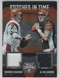"""2015 Panini Football Card Totally Certified """"STITCHES in TIME"""" Esiason/McCarron DOUBLE RELIC!!  /99"""