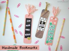 Handmade Bookmarks - Back-to-school DIY - made with @Pebblesinc and @tatertotsjello Home+Made collection