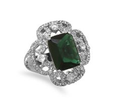 Rhodium Plated Brass Ring with Green and Clear CZs