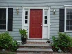 Red Door Grey House red door and black shutters on gray house | outdoors | pinterest