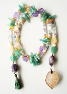 Divino Don Necklace made of aventurine, agate, citrine, amethyst and pearls. Find more at www.divinodon.com