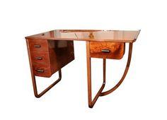 Desk / Writing Table - Attributed To Gilbert Rohde Kohler American Art Deco Art Deco Desk, Art Deco Mirror, Art Deco Furniture, Steel Furniture, French Furniture, Cool Furniture, Modern Furniture, Bauhaus, Chinoiserie