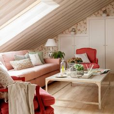 Readly - Country House Magazine - 21 - Country House Magazine features country chic homes and interiors, decor ideas and styling, food recipes, Attic Bedroom Designs, Attic Bedrooms, Country Cottage Bedroom, Sweet Home, Cozy Living Rooms, House And Home Magazine, Cozy House, Furniture, Home Decor