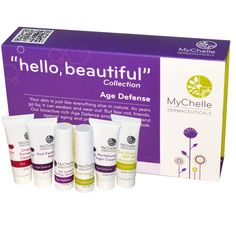"MyChelle Dermaceuticals, ""Hello, Beautiful"" Collection, Age Defense Sample Kit, 6 Piece Kit - iHerb.com $16.00US"