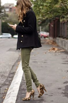 black coat and olive jeans with leopard print heels