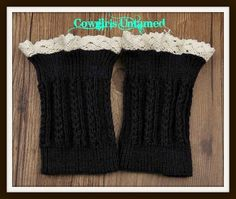 COWGIRL GYPSY BOOT CUFFS Cream Crochet Lace  Boot Toppers Cuffs Leg Warmers