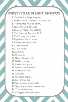 25 must get photos in disney world!..hope we will be able to get all these places..:) cant wait 3 more months