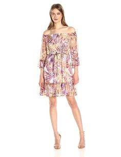 91af56a39af Lucky Brand Women's Palm Print Off the Shoulder Belted 3/4 Sleeve Ruffle  Dress M