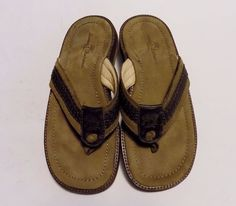 """Tommy Bahama """"Anchors Away"""" Brown Leather Flip Flop Thong Sandal Mens Size 8 M #TommyBahama #FlipFlops"""