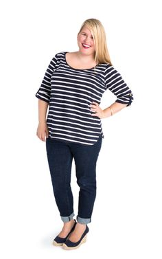 Meet the Concord, your new favorite tee! Fully customizable and designed for curves, this knit T-Shirt is a classic wardrobe staple. Choose from three hem lengths (cropped, mid-length or long curved),