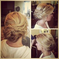 wedding updo with braid. Go onto her website, her portfolio, then look for Katlin-bridals. It has her wedding photos so you can see what it looks like from the front.
