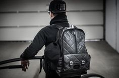 Black backpack made of ecological leather- the inside is decorated with red-black plaid lining #backpack #leather #men #black #accessories