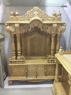 Wooden Temple For Home, Temple Design For Home, My Home Design, House Design, Pooja Room Door Design, Door Design Interior, Ganapati Decoration, Pillar Design, Vertical Garden Design