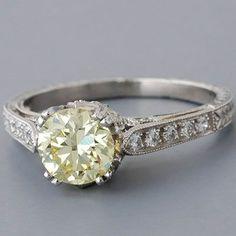 Antique Edwardian Style Platinum 'Fancy Light Yellow' Diamond Engagement Ring