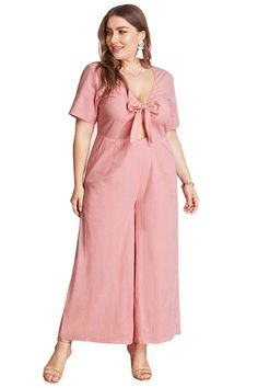 Jumpsuit with Flared bottom Half sleeves and V neck with a wide slit opening till waist A charming tie knot bow front opening Fabric Polyester Machine Wash cold We recommend to order a size up Plus Size Dresses, Plus Size Outfits, Trendy Outfits, Short Dresses, Girl Outfits, Formal Skirt And Top, Skirt And Top Set, Palazzo, Desi