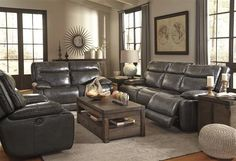Palladum Contemporary Leather Pillow Top Arms Living Room Set