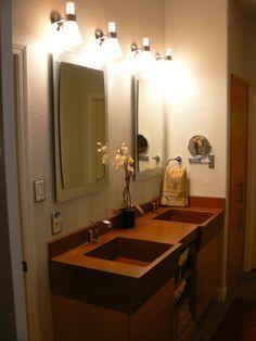 Concrete, Bathroom Vanity With Sinks, Custom, Handmade, Beautiful Concrete  Interiors, Martinez