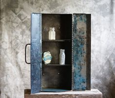 Cute idea...turn an old tool box into a cabinet! Industrial Steel Medicine Cabinet by GearRatTx on Etsy, $120.00