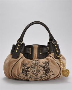 Juicy Couture pink velvet brown leather trim