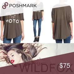 """Coming Soon Wildfox Amo La Mia Moto tee. Flowy and gorgeous for literally every season. Color is """"Dirty Nero."""" Runs oversized, so it can fit a range! Wildfox Tops Tees - Short Sleeve"""