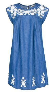 Mango Denim Embroidered Dress, £34.99