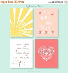 ON SALE You are my sunshine Baby shower gift Girl Nursery Decor Kids Wall Art Nursery Quote Print Nursery Typography Kids Quotes Pin now to view later