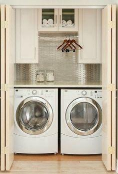 작은집을 위한, 독신자를 위한, 원룸의, 다용도 세탁실.