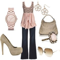 I absolutely love this top and the gray complimenting with the pink!