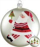 "Glass Disc Santa Claus Ornament 5"" -   PerfectlyFestive"