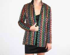 9a076d990f Vintage Malbe Multi Colored Sequin Jacket by ThreadedVibes on Etsy Sequin  Jacket